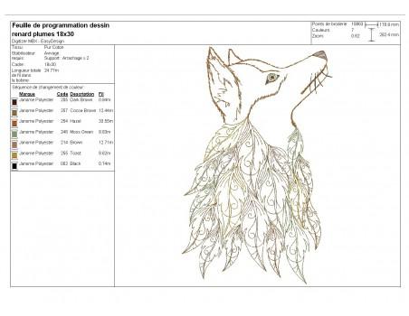 Motif de broderie machine  tête de renard avec des feuilles plumes