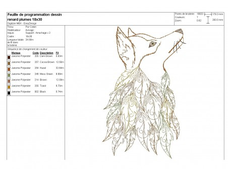 Embroidery design buffalo head with feathers
