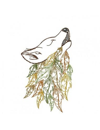Motif de broderie machine  tête de loup avec des feuilles plumes