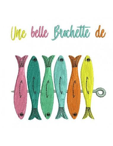 Motif de broderie machine brochette de sardines