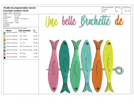 Instant download machine embroidery  pilchard