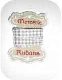 Motif de broderie cartonnette mercerie ruban