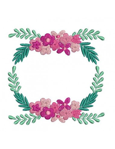 Embroidery design oval frame