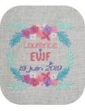 Motif de broderie machine cadre weeding EVJF