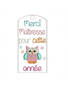 Embroidery design ITH bookmark owl mistress