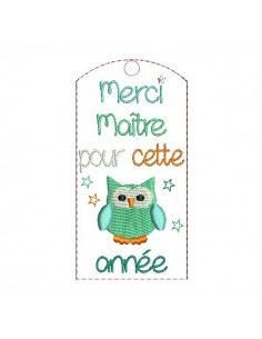 Embroidery design ITH bookmark owl teacher