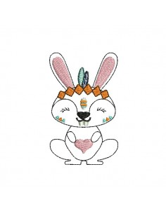 Instant download machine embroidery  apache rabbit