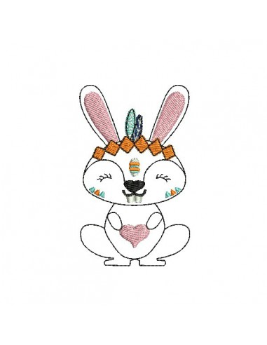 Motif de broderie machine petit lapin apache