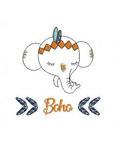Motif de broderie machine petit éléphant apache