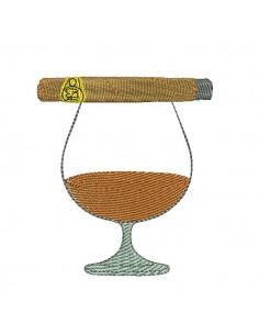 Motif de broderie machine cognac et cigare