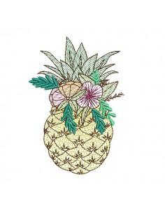 Motif de broderie machine ananas fleurs en mylar