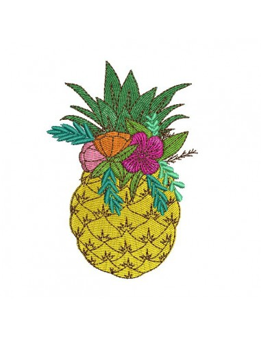 Instant download machine embroidery design mylar pineapple flowers