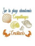 Motif de broderie machine  coquillages et crustacés en mylar
