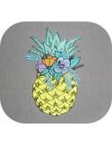 Motif de broderie machine ananas fleurs