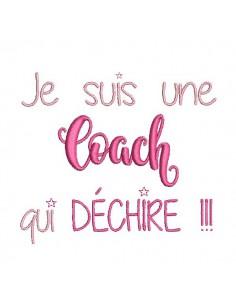Motif de broderie  machine texte coach femme