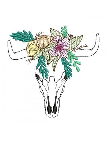 Motif de broderie machine  tête de buffle fleurs en mylar