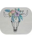 Embroidery design mandala buffalo head