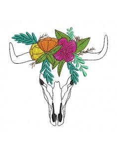 Motif de broderie machine  tête de buffle fleurs