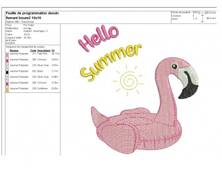 Instant download machine embroidery design flamingo buoy with mylar