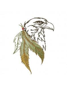 Motif de broderie machine tête d'aigle attrape rêves