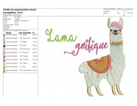Instant download machine embroidery  applique lama