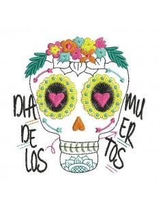 Embroidery design flowers skull muerta