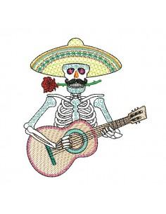 Motif de broderie machine mylar  squelette muerta mexicain avec guitare