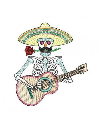 Embroidery design flowers skull muerta