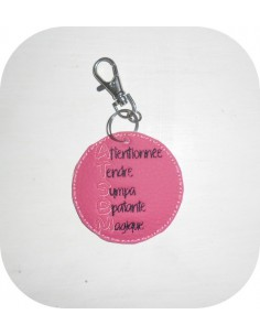 Embroidery design ITH key ring mistress