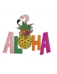 Motif de broderie machine  ananas flamant rose  aloha