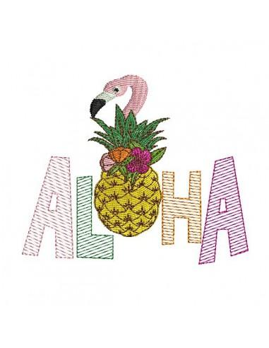Motif de broderie machine  ananas flamant rose  aloha en mylar