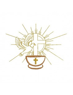 Motif de broderie machine colombe baptême