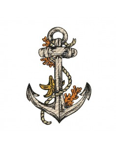Instant download machine embroidery design anchor with corals