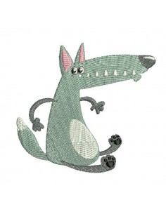 embroidery design sitting wolf