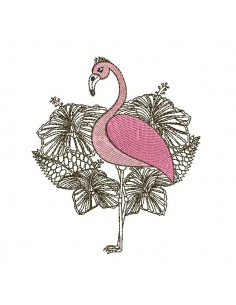 Motif de broderie machine flamant rose fleurs tropicales