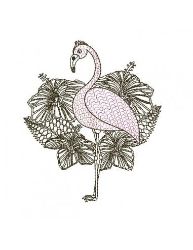 Motif de broderie machine flamant rose fleurs tropicales en mylar