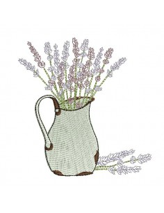 Instant download machine embroidery pitcher of lavender