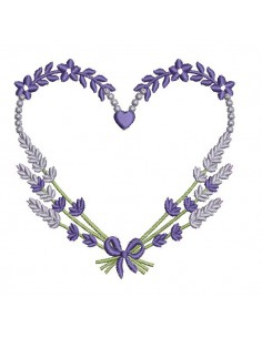 Instant download machine embroidery  lavender heart