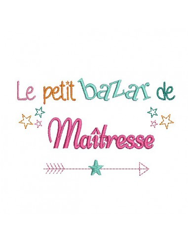 Embroidery design text mistress on vacation