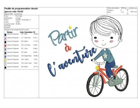 Motif de broderie machine garçon à vélo