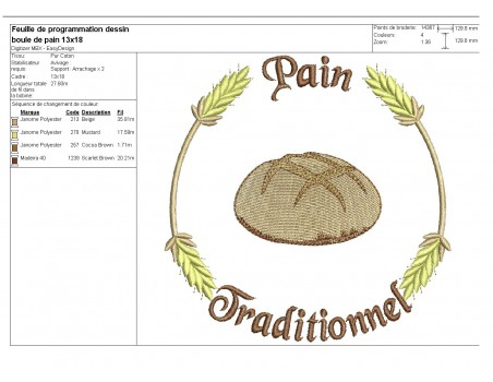 Instant download machine embroidery bread