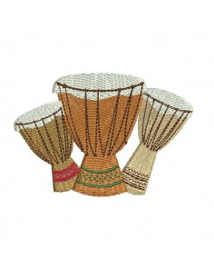 embroidery design music djembe