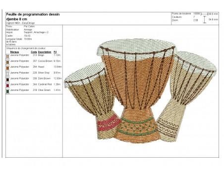 embroidery design music balafon