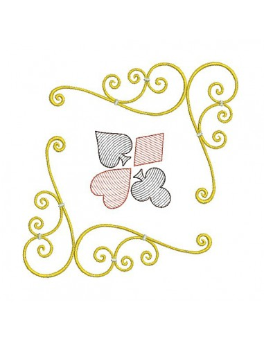 Instant download machine embroidery design corner card game