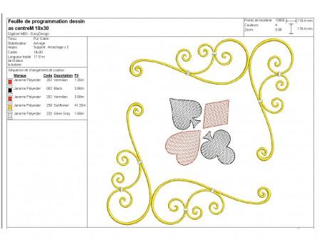 Instant download machine embroidery design corner card game