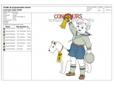 Motif de broderie machine vintage enfant concours chien