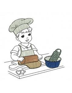 Motif de broderie machine vintage enfant pâtissier