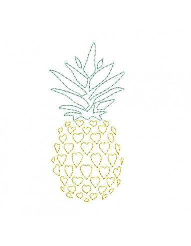 Motif de broderie machine ananas coeur en redwork