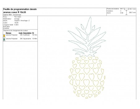 Instant download machine embroidery design pineapple heart