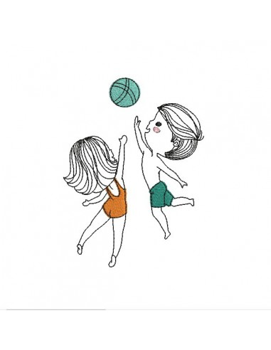 Motif de broderie machine enfants beach volley